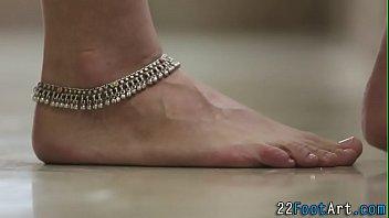 Foot tugging babe cumshot