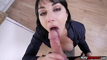Horny stepson is so hard for his busty MILF stepmom