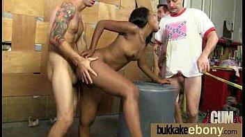 Ebony in a huge bukkake 13