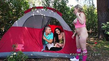 Huge tits blonde amateur bangs in camp