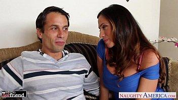 Busty brunette Ariella Ferrera gives head