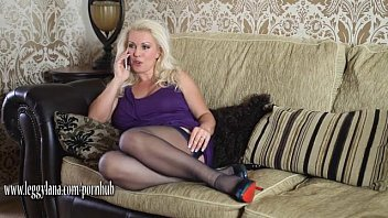 Horny Leggy Lana Milf has phone sex fingering and toying