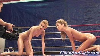 Beautiful teens wrestling naked