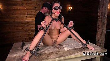 Babe in bondage pussy fingered