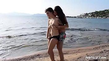 Erotic Homemade Amateur Lesbian Sex on the Beach