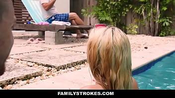 FamilyStrokes - Cute Teen Blonde Teases Cousin & Uncle