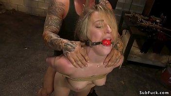 Tattooed master brutal anal fucks slave