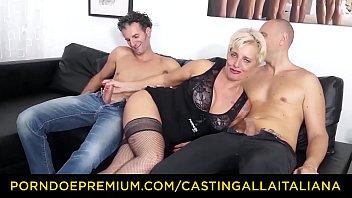 CASTING ALLA ITALIANA - Mature Italian blonde gets DP and cum on feet in hot FFM threesome