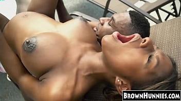Ebony slut Lola Chanel takes a cock treat by the pool