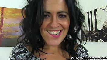 Spanish milf Montse Swinger dildo fucks nyloned cunt