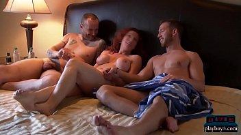 Women first threesome video
