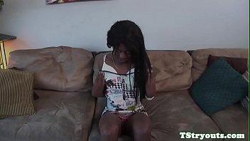 Auditioning ebony ts wanks off teasingly