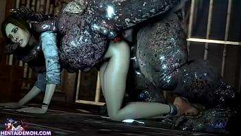 Monster Uses Cute Girl As His Fucktoy