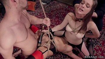 Hot slave babes anal fucking at orgy