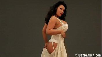 Danica Collins (Donna Ambrose) in silk lingerie striptease