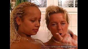 Young big boobed African babe fucks busty blonde ass butt