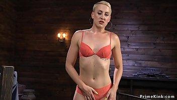 Tall small tits blonde fucks machine