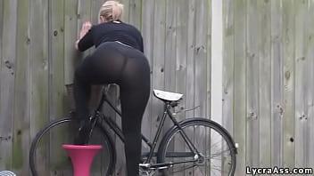Sexy big ass in transparent lycra leggings tights & thong Thumb