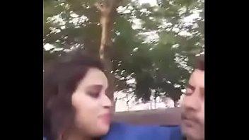 boobs press kissing in park selfi video