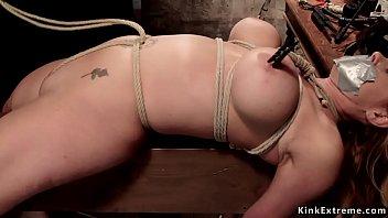 Crotch rope big tits blonde on hogtie