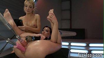 Pussy toying lesbian babes use dildo vibrator sextoy babes