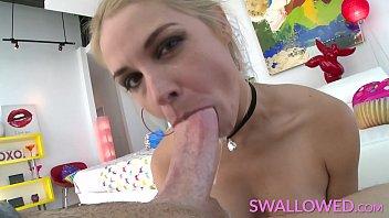 SWALLOWED Big boobs blonde Sarah Vandella solo deepthroat
