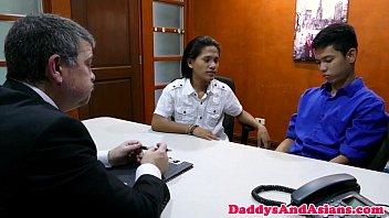 Filipino twink spitroasted in office