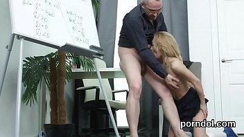 Natural schoolgirl gets teased and banged by older mentor