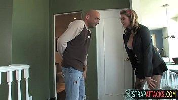 Tittyfucked femdom toying slaves ass