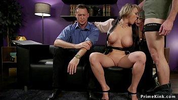 Huge tits wife cuckolds husband threesome