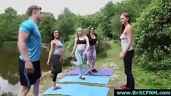 Sporty British babes strip CFNM amateur guy