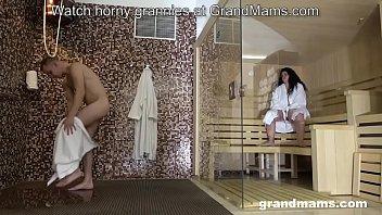 Fat grandma rides young lover in the sauna