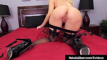 Blonde Babe Natalia Starr Dildo Fucks In Hot Black Lingerie!