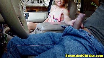 Hitchhiking blonde fingering herself