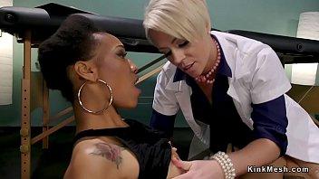 Blonde doctor anal fucks ebony in hardcore bdsm bondage