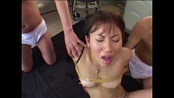 Japanese Teen tied and used as Cum Bucket - Japanese Bukkake Orgy