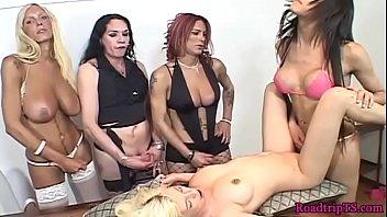 Busty tgirls gangbanging a slutty babe