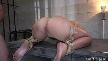 Hot ass blonde banged in prison bondage
