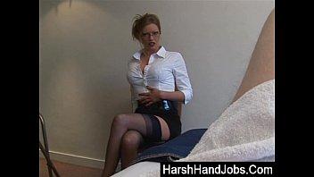 Blonde secretary gives a painfull handjob