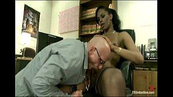 Hot Black TS girl rams her cock up the ass of an arrogant co-worker