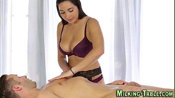 Busty masseuse tit fucks