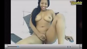 African girl having fun