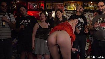 Master fucks brunette in public bar