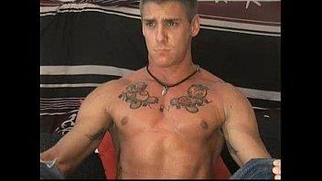 Tattooed gay solo wanking