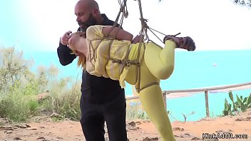 Yellow haired slave disgraced in public