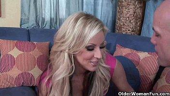 Blonde milf Carolyn Reese takes a pounding