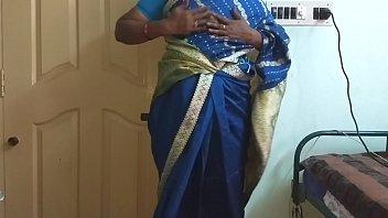 des indian horny cheating tamil telugu kannada malayalam hindi wife vanitha wearing blue colour saree  showing big boobs and shaved pussy press hard boobs press nip rubbing pussy wife malayalam