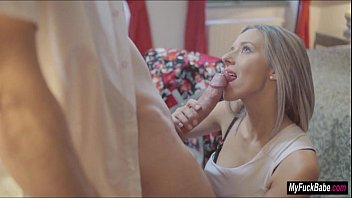 Tracy Loves gives her lover a blowjob for their dinner date