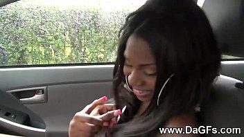Busty black tattoed girlfriend fingered on the back seat