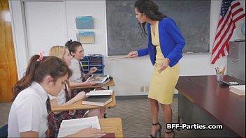 Coeds banging sexy teacher